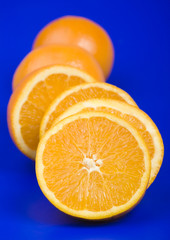 Oranges on the blue background