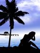 Femme - plage - palmier