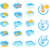 Weather Forecast vector icone set and Thermometers