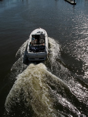 Motor boat with wake