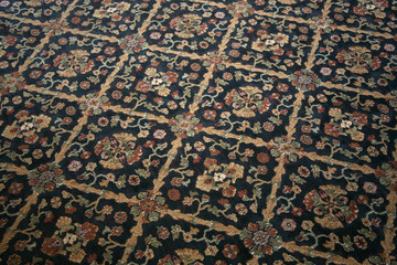 Commercial carpet with a distinctive floral pattern
