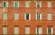 windows of old house, rome, italy
