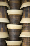 Set of handmade ceramic cups in set creating pattern poster