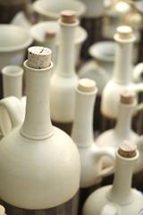 White ceramic handmade bottles