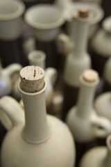 White ceramic handmade bottles