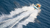 speeding motor boat poster