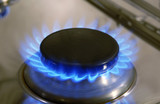 Flame of a gas cooker poster