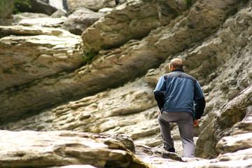 Young man trekking