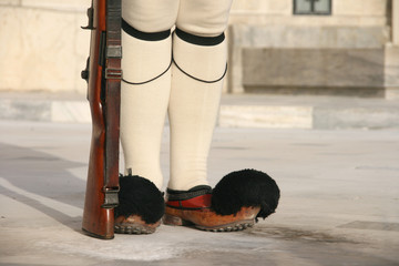traditional guard of the greek president detail