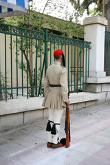 traditional guard of the greek president standing