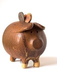 Pottery Piggy Bank Overflowing with US Coins poster