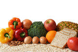 variety of foods, fruits, vegetables, whole grains and dairy. poster