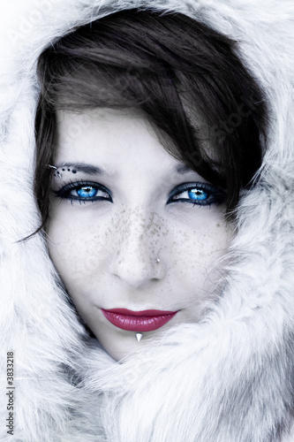 Black and white winter portrait with bright lips and eyes