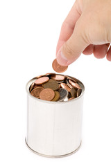 coins and can with white background, concept of Savings