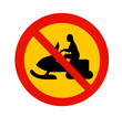 A traffic sign declines passage for snowmobiles