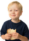 Little boy showing satisfaction while eating a sandwich poster