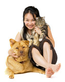 Woman hugging her cat and dog. poster