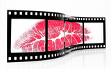 Old Grainy film strip with lipstick kiss poster