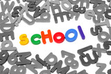 Colorful letters spelling out school over white poster