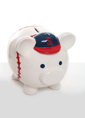 A cute baseball piggy bank over a white background