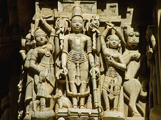 Carved sculptures on Jagdish Mandir, Udaipur, Rajasthan, India.