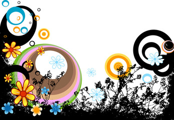 design with flowers and circles