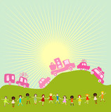 cars caravan and group of kids  poster