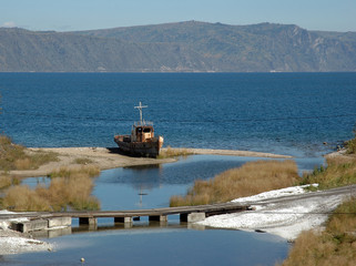 Ship on Baikal lake