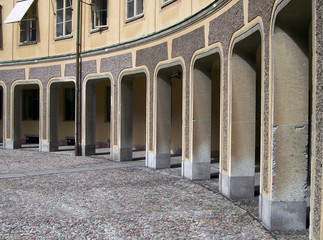 an arched walkway in the gamla stan area of Stockholm in Sweden