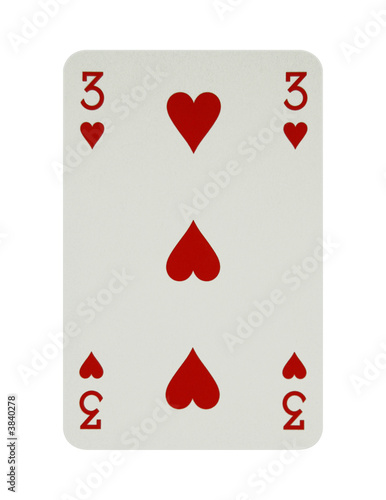 Three of hearts card