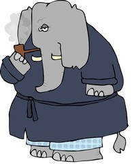 Elephant Smoking A Pipe