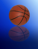 Basketball on gradient blue background with reflection poster