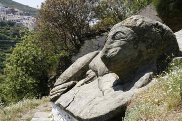 ancient stone lion on the island Kea, Cyclades, Greece