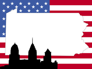 map of Pennsylvania on American flag with Philadelphia