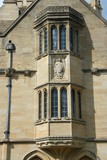 Oxford, Magdalen College, oriel window with carved angel poster