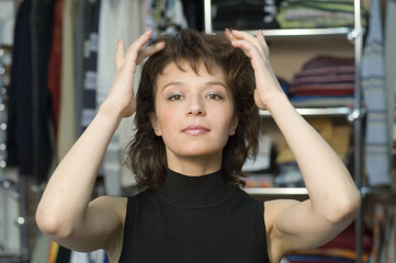 Woman touching to her hair