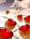 Winged hearts fly into the distance poster