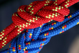 Two figure eight follow through knots in a climbing rope. poster