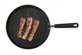 Three strips of bacon frying in a pan over white poster