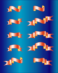 Banner ribbon on a dark blue background. The vector image.
