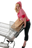 A pretty young woman in red grocery shopping poster