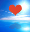 Heart on sea and sky background