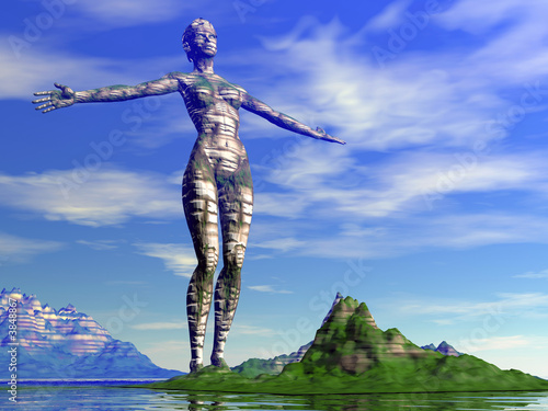 woman - earth sign over summer ocean background (3D)