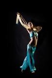 Dancing girl in fantasy arabian harem costume poster