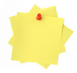 three yellow sticky notes thumbtacked to white background