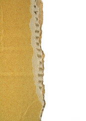 close-up of rough cardboard edge with white copy space