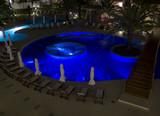 Swimming pool at night poster