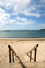 Going to Porthcressa beach, St. Mary's, Isles of Scilly.