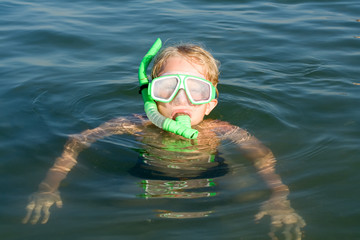 Boy with diving mask