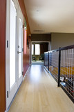 Modern asian inspired hallway with bamboo floors poster